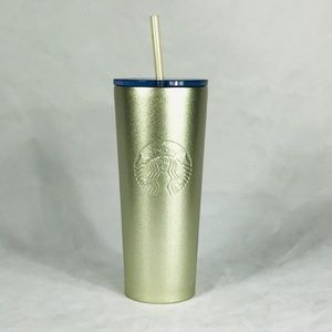 NWT Starbucks Metallic Gold Frosted SS Tumbler